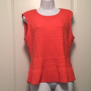Gorgeous orange BCBG peplum silk-cotton knit top L